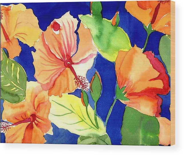 Bright Orange Flowers Floral Wood Print featuring the painting Bright Orange Flowers by Janet Doggett