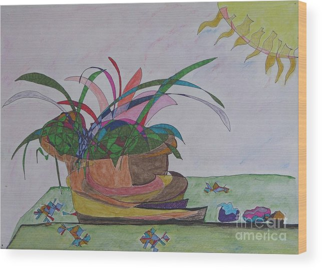Abstract Wood Print featuring the painting Bromiliad by James SheppardIII