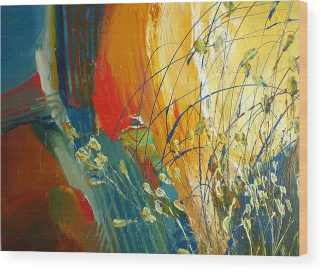 Red Blue Large Texture Floral Weeds Abstract Wood Print featuring the painting Call Of The Sun by C C Opiela