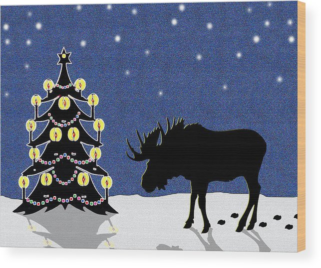 Moose Wood Print featuring the digital art Candlelit Christmas Tree And Moose In The Snow by Nancy Mueller