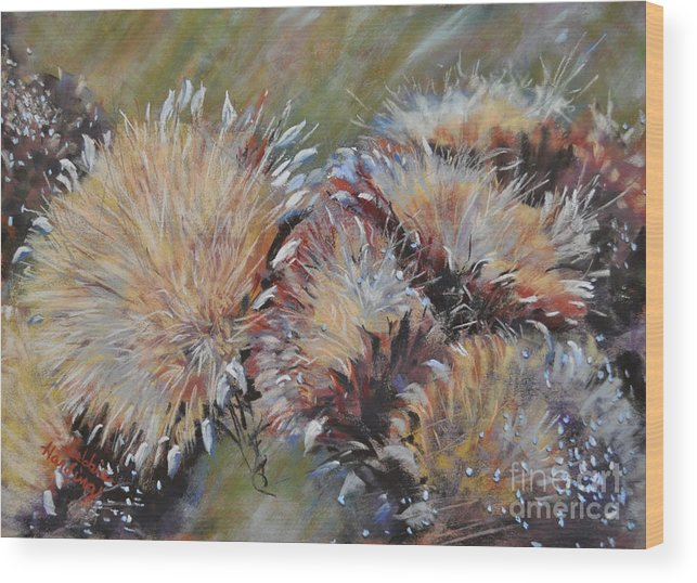 Flower Wood Print featuring the painting Cardoon by Debbie Harding