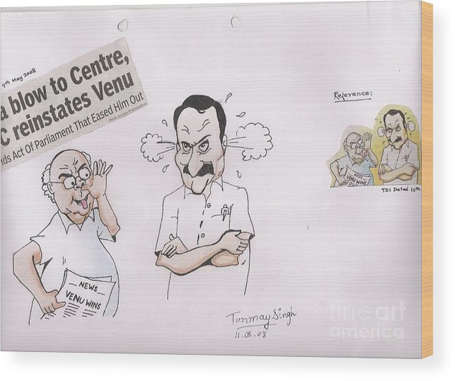 Indian Politician Drawing Wood Print featuring the painting Cartoon by Tanmay Singh