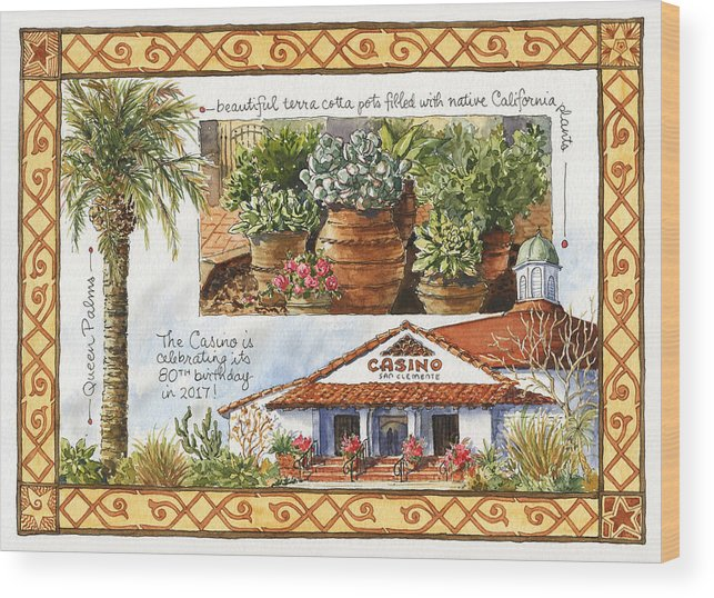 Casino Wood Print featuring the painting Casino San Clemente by Leslie Fehling