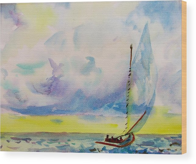 Catboat Wood Print featuring the painting Catboat by Linda Emerson