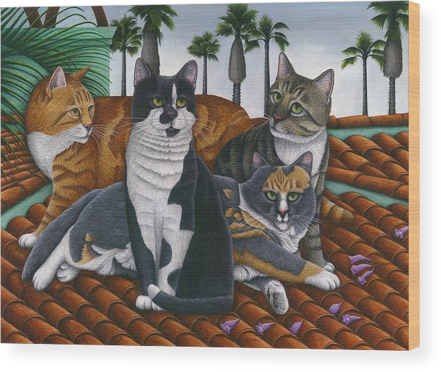 Cats Up On The Roof Wood Print featuring the painting Cats Up On The Roof by Carol Wilson