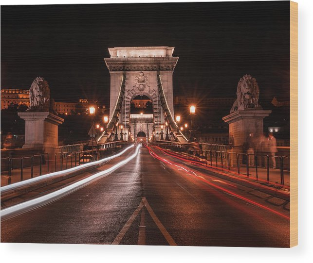 Tourism Wood Print featuring the photograph Chain Bridge At Midnight by Jaroslaw Blaminsky