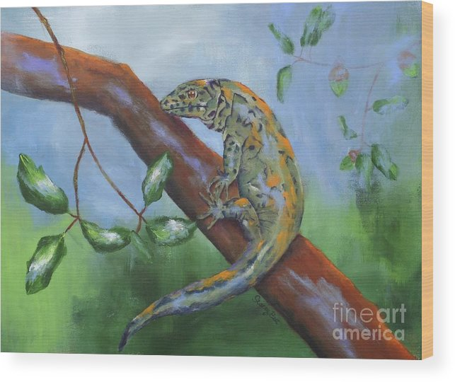 Lizard Wood Print featuring the painting Channel Islands Night Lizard by Stacey Best