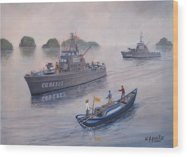 Marine Art Wood Print featuring the painting Coast Guard Cutters Pt Hudson And Pt Grace In Vietnam by William H RaVell III