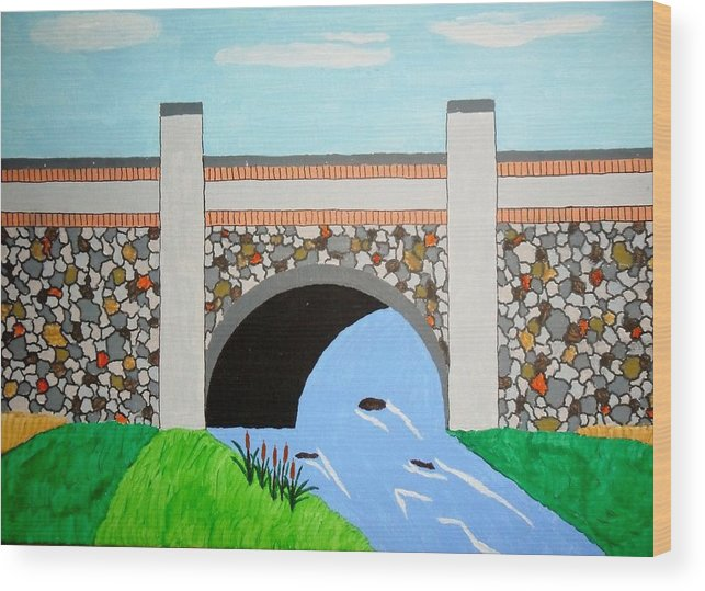 Acrylic Landscape Painting Canvas Wood Print featuring the painting Cobblestone Bridge by Donald Herrick