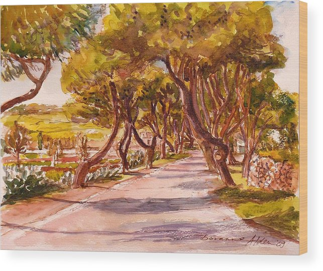 Landscape Wood Print featuring the painting Country Lane by Doranne Alden