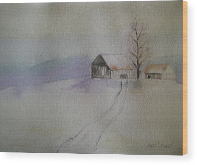 Barn Snow Winter Tree Landscape Cold Wood Print featuring the painting Country Snow by Patricia Caldwell