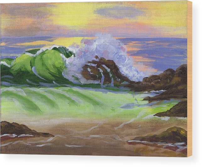 Seascape Wood Print featuring the painting Crashing Wave by Emily Freiman