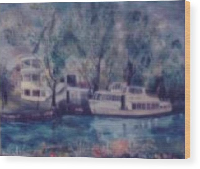 River Cruiseboat On Rhine Germany Swans Wood Print featuring the painting Cruiseboat On Rhine River Germany by Alfred P Verhoeven