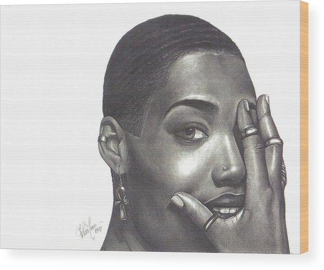 Woman Wood Print featuring the drawing Crystal Blaque by Charlene Cooper