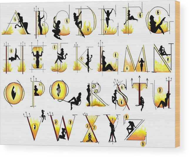 Letters Wood Print featuring the digital art Devilish Alphabet by Scarlett Royal
