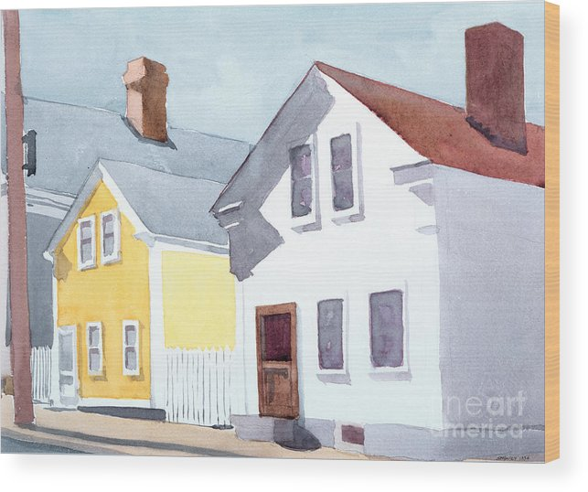 Coastal New England Wood Print featuring the painting Diving Street by Ian Newbury