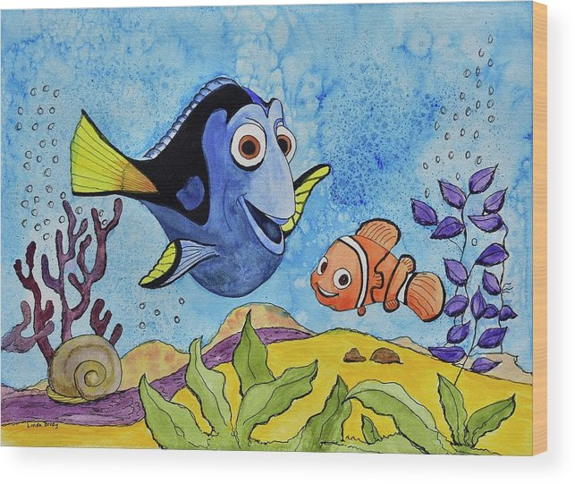 Linda Brody Wood Print featuring the painting Dori And Nemo by Linda Brody