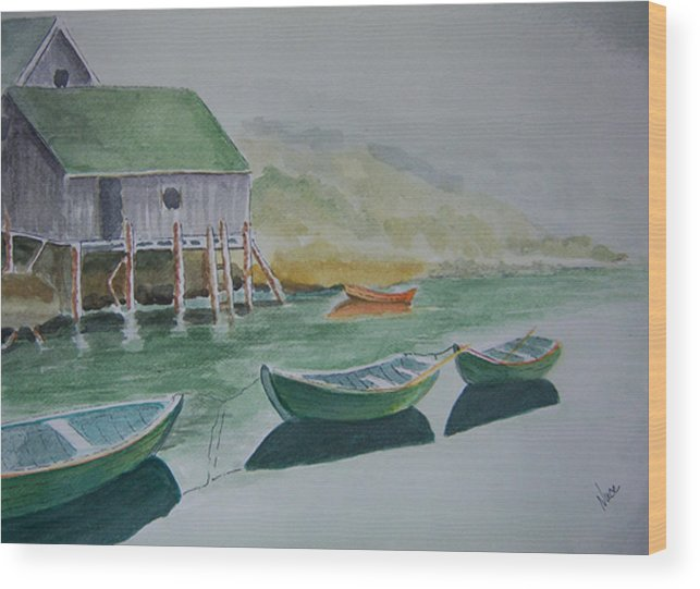 Fishing Village Wood Print featuring the painting Dories In Waiting by Nancy Nuce