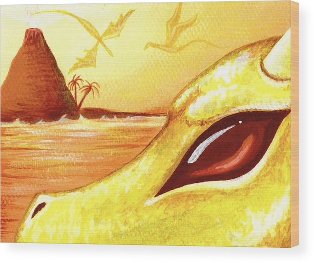 Dragon Wood Print featuring the painting Dragons Of Volcano Island by Elaina Wagner