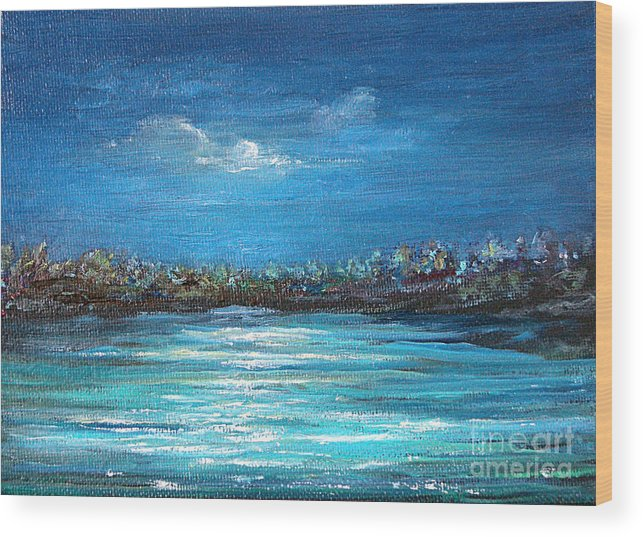 Seascape Wood Print featuring the painting Dream Night by Jeannette Ulrich