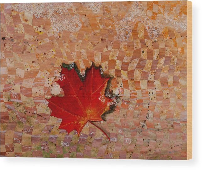Maple Leave Wood Print featuring the painting Drifting by Linda L Doucette