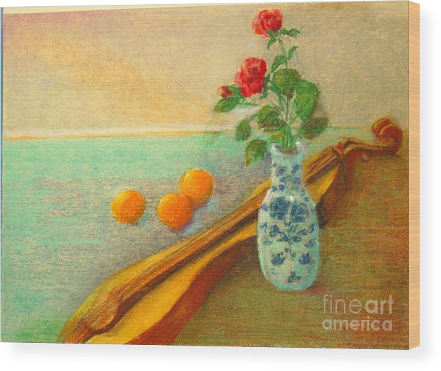 Still Life Wood Print featuring the painting Dulcimer And Delft    Copyrighted by Kathleen Hoekstra