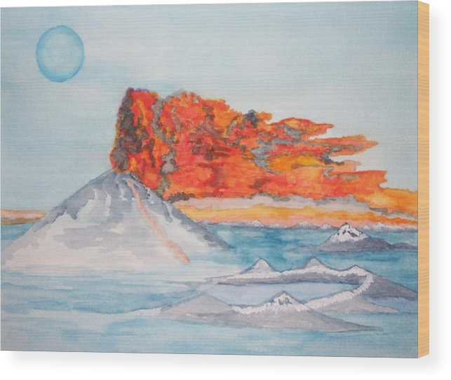 The Sea Wood Print featuring the painting Earth In Action by Connie Valasco
