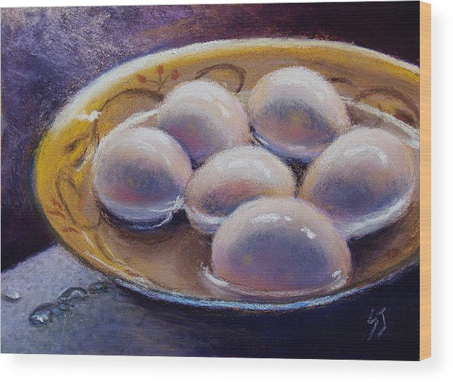 Still Life Wood Print featuring the pastel Eggs In Window Light by Susan Jenkins