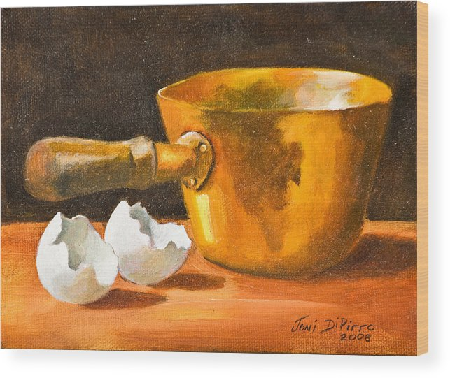 Pot Wood Print featuring the painting Eggshell by Joni Dipirro