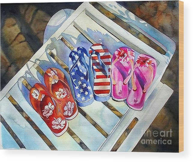 Flip Flops/chaise Lounge Wood Print featuring the painting End Of Summer by Gail Zavala