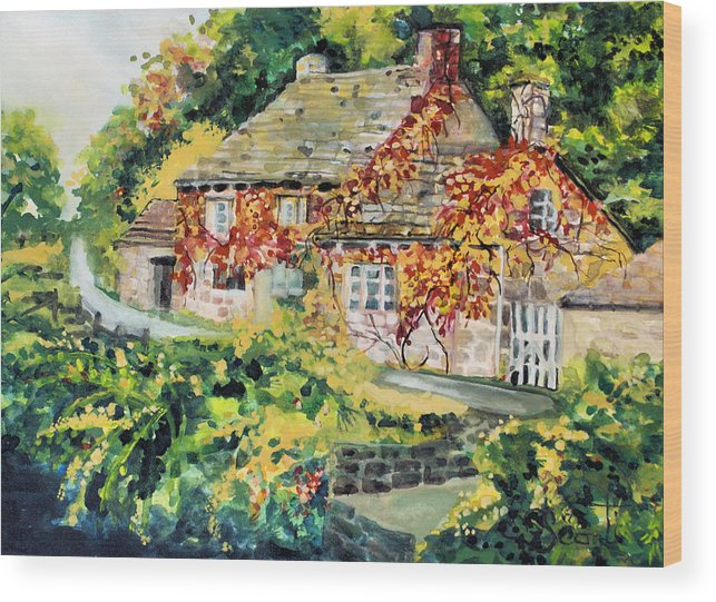 Cottage Wood Print featuring the painting English Autumn by Mary Sonya Conti