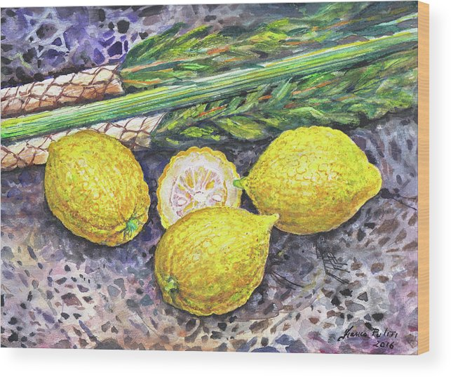 Etrog Wood Print featuring the painting Etrog by Franco Puliti