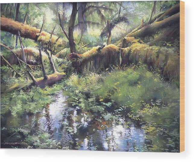 Trees Wood Print featuring the painting Fallen Giants by Marion Hylton