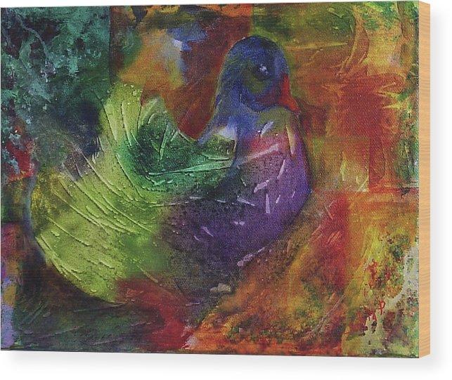 Animal Wood Print featuring the painting Fantasy Bird by Silvia Philippsohn