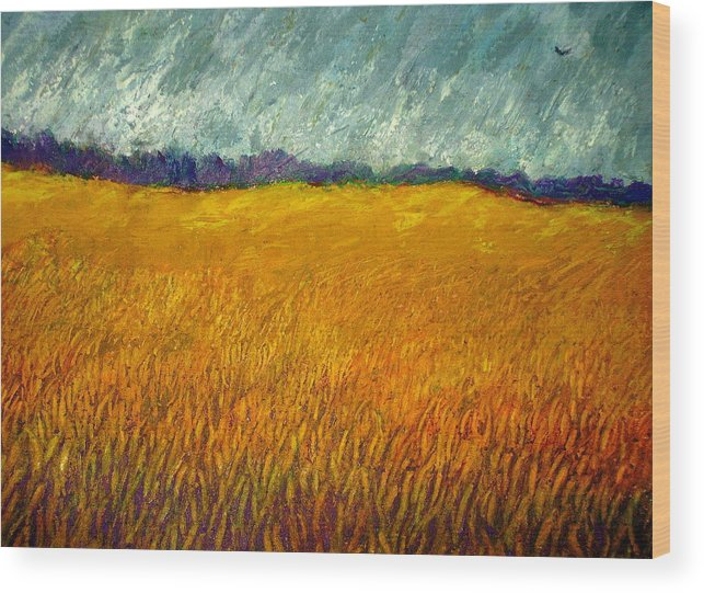 Field Wood Print featuring the painting Field At Noon by Kent Whitaker