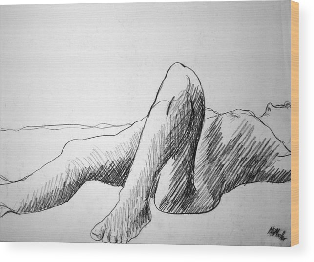 Figure Wood Print featuring the drawing Figure Drawing 4 by Nancy Mueller