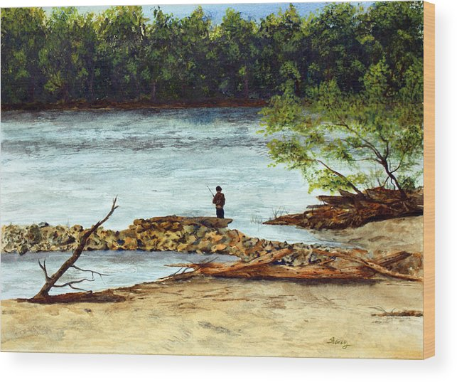 Water Wood Print featuring the painting Fishing On The Missouri River by Tina Storey