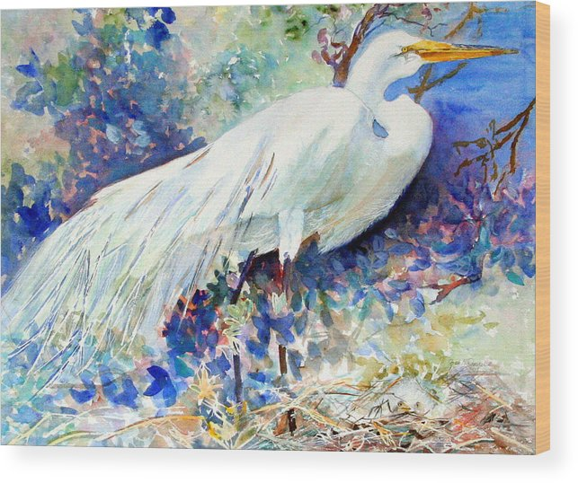 Bird Wood Print featuring the painting Florida Egret With Nest by Joan Dorrill