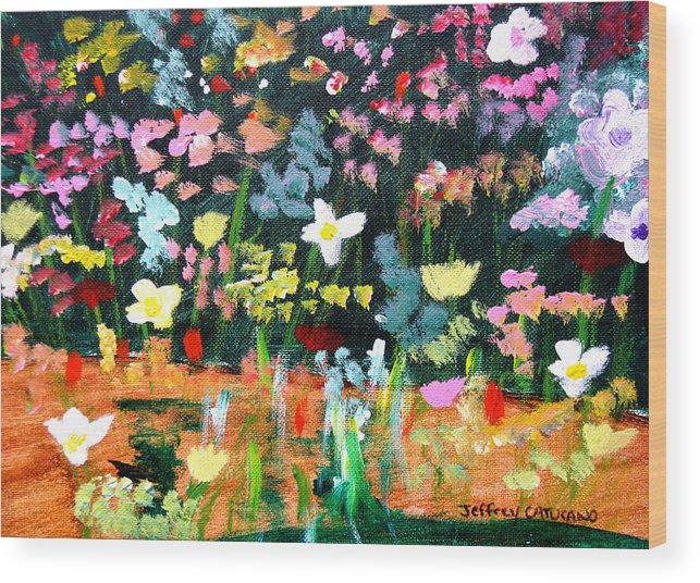Flowers Wood Print featuring the painting Flower Detail by Jeff Caturano