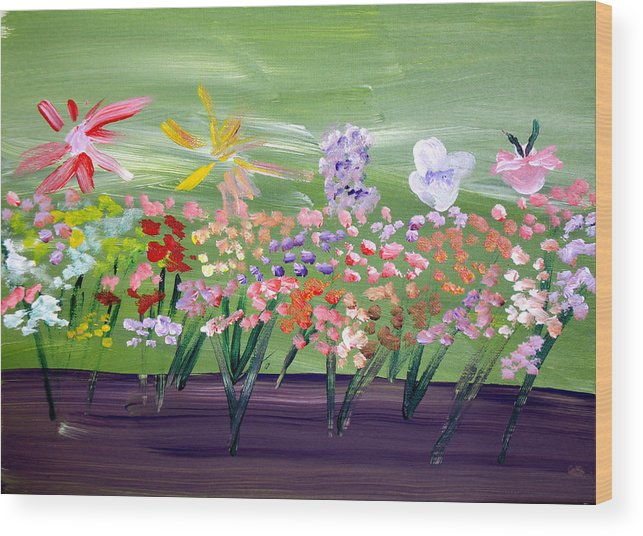 Flowers Wood Print featuring the painting Flower Garden by Jeff Caturano