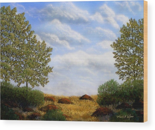 Landscape Wood Print featuring the painting Foothills Afternoon by Frank Wilson
