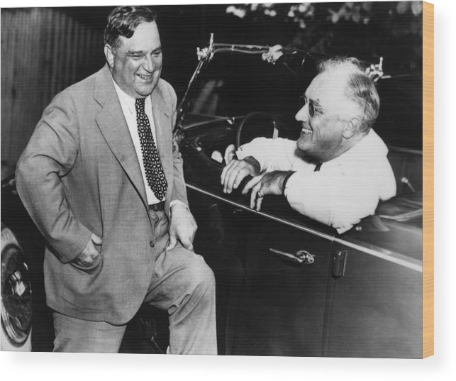 President Roosevelt Wood Print featuring the photograph Franklin Roosevelt And Fiorello Laguardia In Hyde Park - 1938 by War Is Hell Store