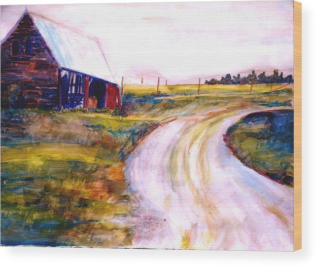 Barn Wood Print featuring the painting Freedman Farm by Joyce Kanyuk