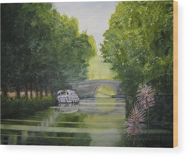 Landscape Wood Print featuring the painting French Canal by Shirley Braithwaite Hunt