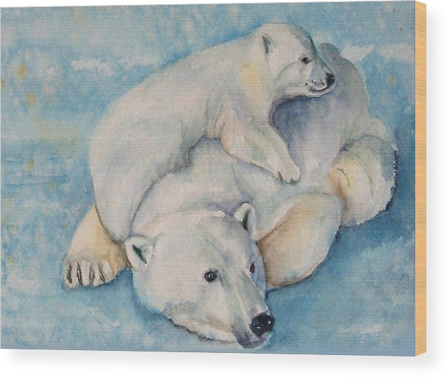 Polar Bears Wood Print featuring the painting Frosty Baby by Gina Hall