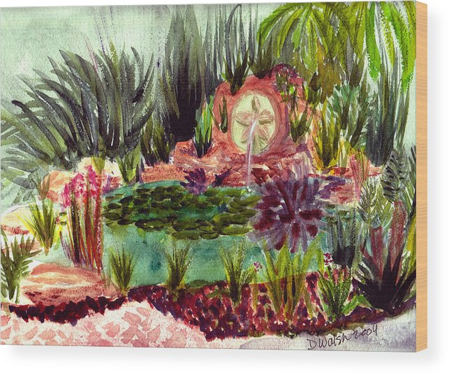 Garden Wood Print featuring the painting Garden Path by Donna Walsh