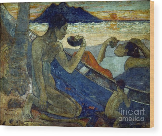 19th Century Wood Print featuring the photograph Gauguin: Pirogue, 19th C by Granger