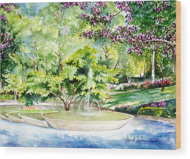 Fountain Wood Print featuring the painting Glencairn Fountain by Anne Rhodes