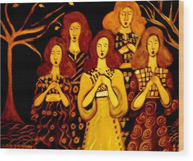 Choir Wood Print featuring the painting Golden Chords by Rusty Gladdish