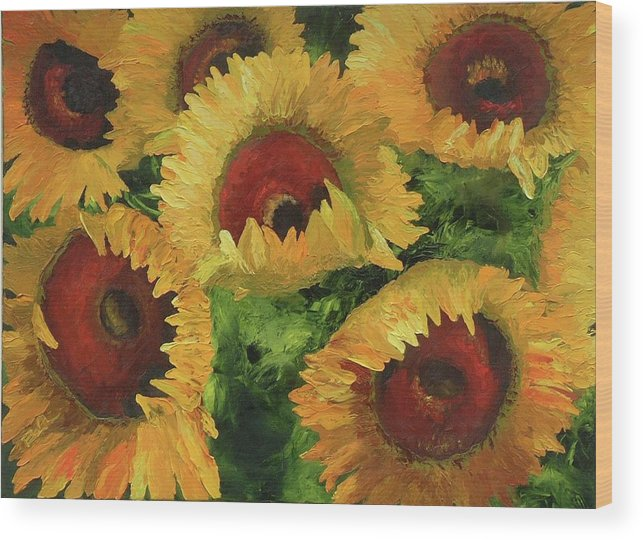 Sunflowers Wood Print featuring the painting Grand Opening by Barbara Auito